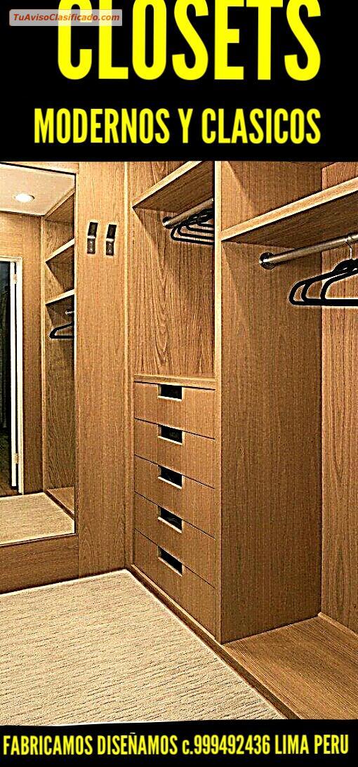Closets y reposteros modernos de madera y melamine for Muebles de madera peru