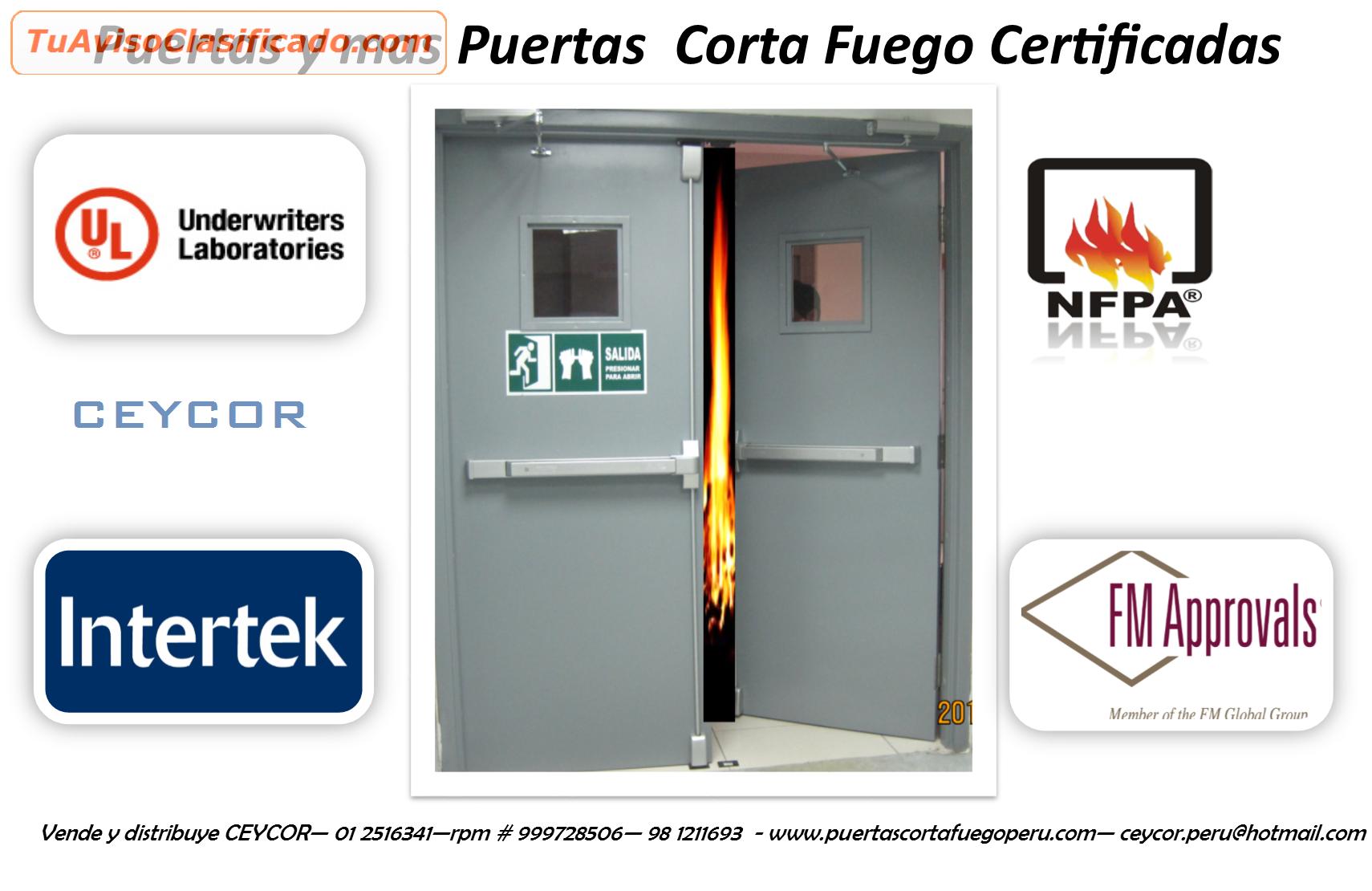 Puertas y cerraduras de escape corta fuego certificadas - Puerta cortafuegos precio ...